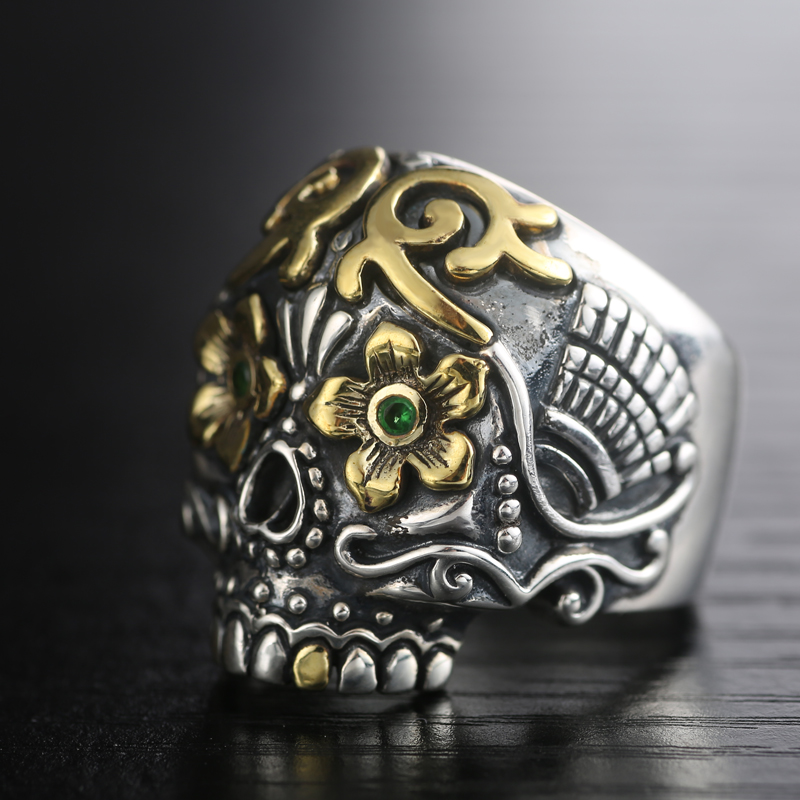 Luo Tai old silversmith S925 Silver Carved Jinhua skull ring ring silver silver domineering Men Ring