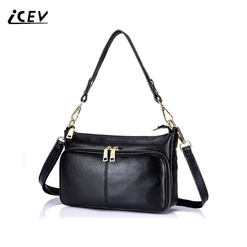 ICEV New Simple Designer Handbag High Quality Genuine Leather Bags Handbags Women Famous Brands Cow Leather Ladies Fashion Totes