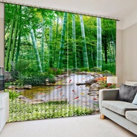 photo Blackout Window Drapes Luxury 3D Curtains For Living room Green bamboo curtains