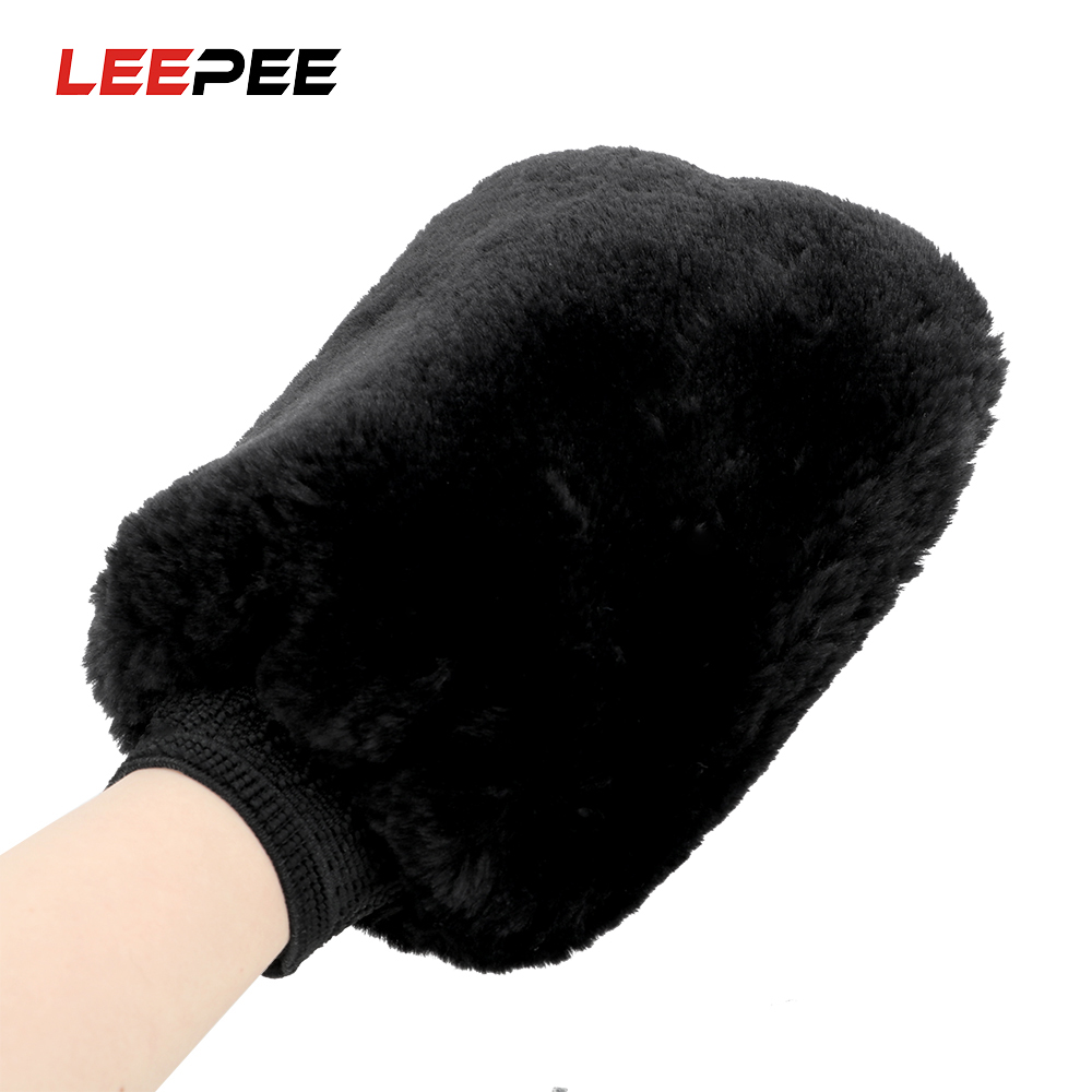 LEEPEE Water Absorption Car Cleaning Car Wash Washing Gloves  Brush Cloth Soft Artificial Wool Auto Care