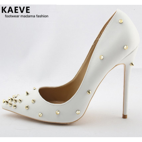 2017 Hot Golden Rivets Women Pointy Toe Pumps Black/White Leather Ladies Sexy High Heels Female Fashion Size 41