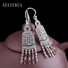 925 Sterling Silver Thai Gemstone Tassel Bohemia Drop Earrings Garnet Women Handmade Craft Vintage Dangle Earring Party Trendy