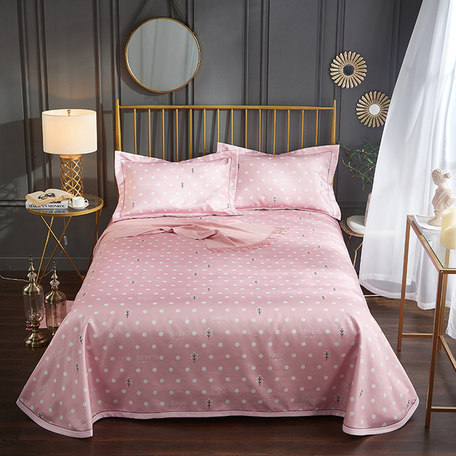 Summer Cool Fabric Sleeping Sheet 245 250cm Pink Polka Dot Blue Plaid Flowers Bedding Contain Flat Bed Sheets With Pillowcase