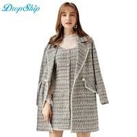 Dropship Streetwear Autumn Winter Women New Fashion Long Office Wear Double Breasted Coat Slim Type Female Manteau Femme 2018