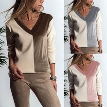 V Neck Loose Women Pullovers Female Patchwork Thin Sweaters Casual Winter Knitted Pull