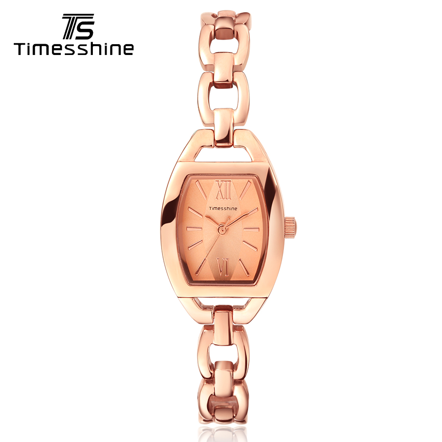 Timesshine women wrist watch rose gold bracelet golden/pink dial watch fashion elegant ladies Stainless steel Quartz Watch timesshine women watch quartz watch