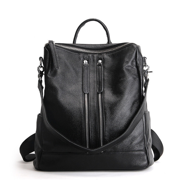 2017 New  Genuine Leather Backpack Women Designer bags High Quality New Casual Black School Bags For Teenagers Girls sac a dos bicolor back bag vintage casual genuine leather school bags top quality hotsale women famous designer brand backpack teenagers