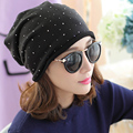 Women Head Cap Hat Thin Cotton Knit Hat Cap Winter Month Pile Cap C004