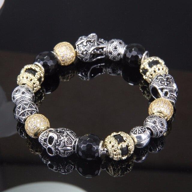 Томас бусины золотистого цвета браслет с черепом Любовь Узел