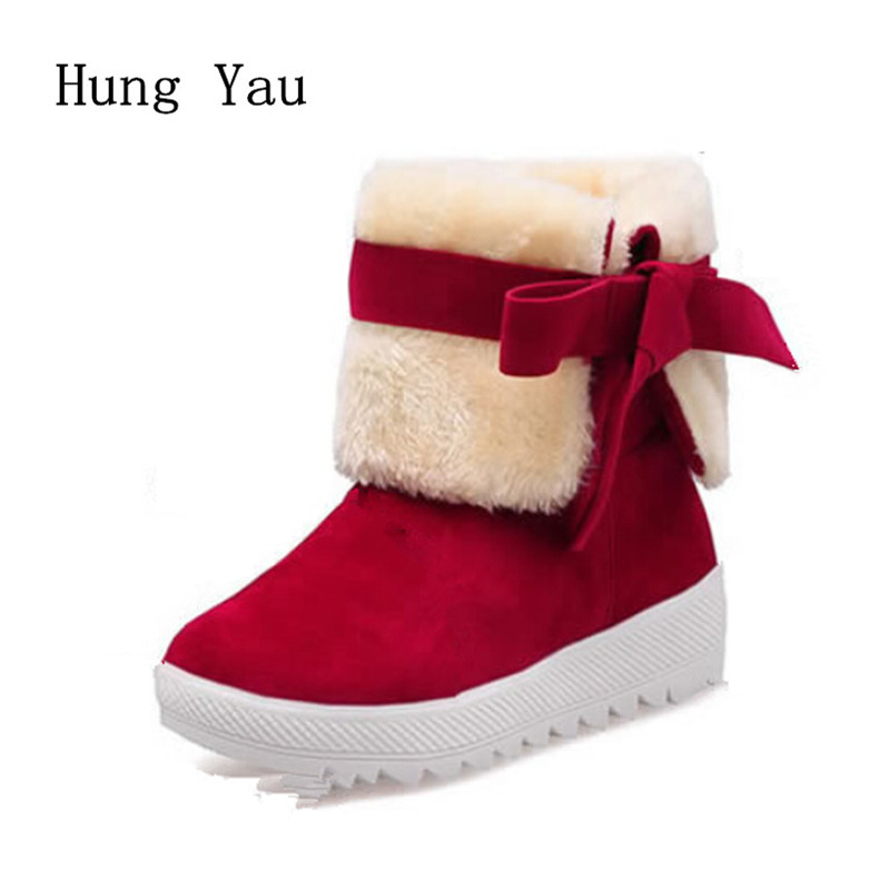 Women Snow Ankle Boots Winter Warm Female Casual Shoes Woman Flat Fashion Butterfly-knot Comfortable
