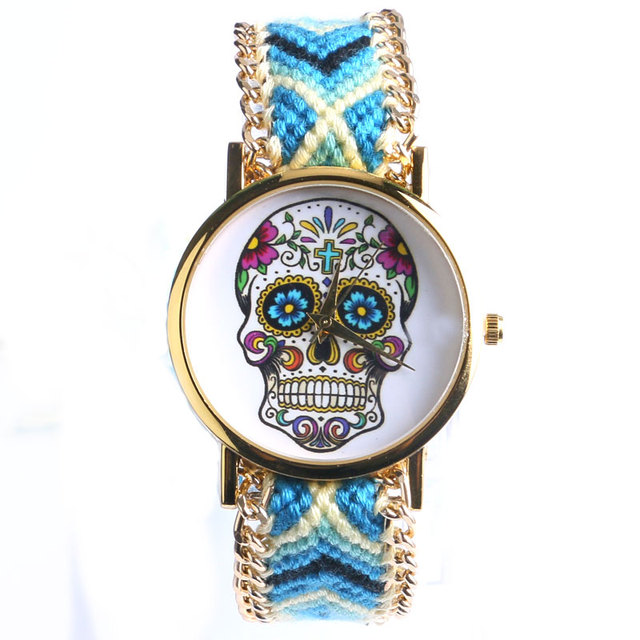 Elegant New Design 4 Colors Sugar Skull Women/Lady Wrist Wacth With Fabric Band