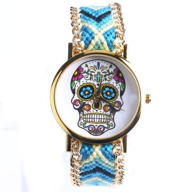 Elegant New Design 4 Colors Sugar Skull Women/Lady Wrist Wacth With Fabric Band