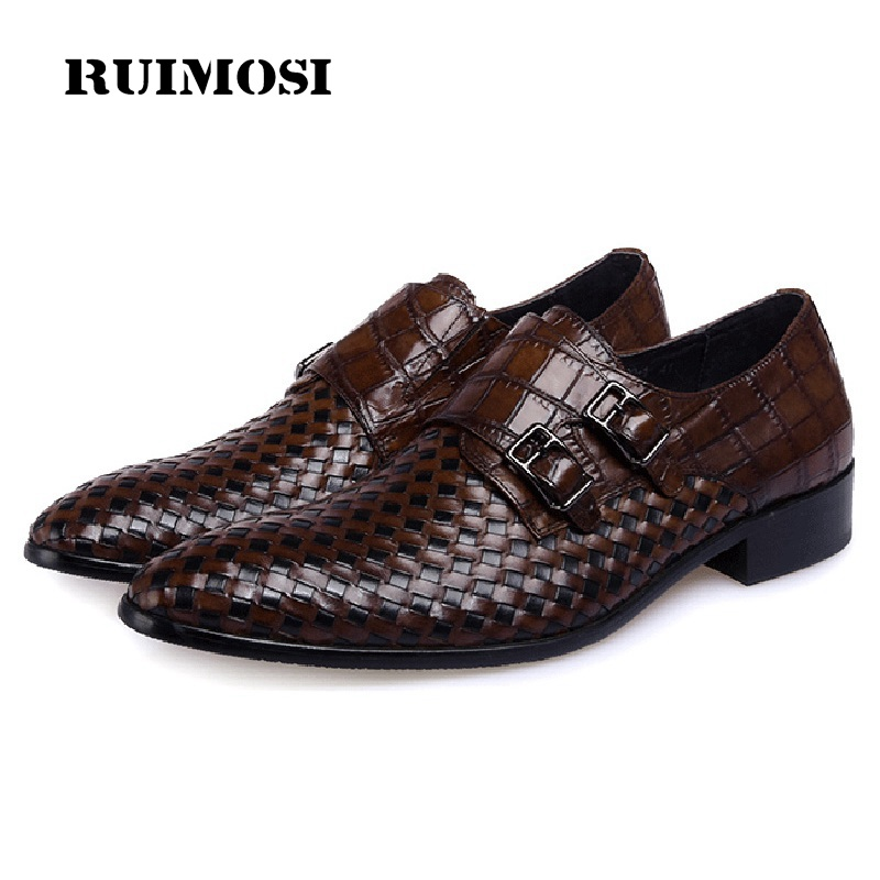 RUIMOSI Top Quality Pointed Toe Man Formal Dress Monk Shoes Genuine Leather Buckle Strap Men's Wedding Bridal Italian Flats MG35