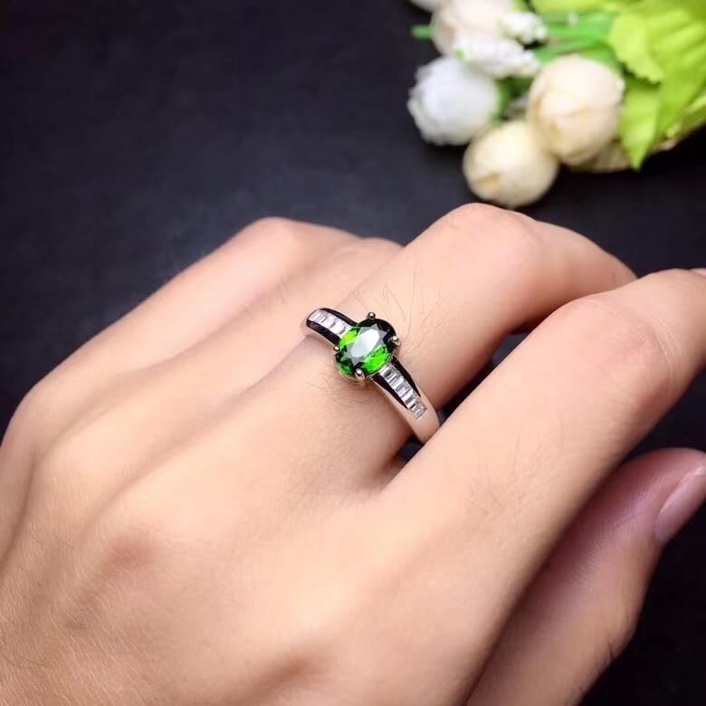 Natuurlijke Getest Diopside Ringen voor Vrouwen, 925 Sterling Zilver, 5*7mm * 1 Pcs Edelsteen Geboortesteen Sieraden Certificaat en Doos FJ417-in Ringen van Sieraden & accessoires op  Groep 3