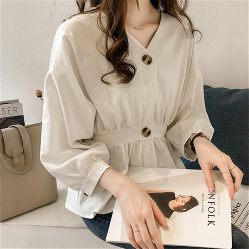 Fashion Autumn Long Sleeve White Blouse Women Sexy V Neck Woman Shirt Elegant Tops Formal Clothing For Office Lady