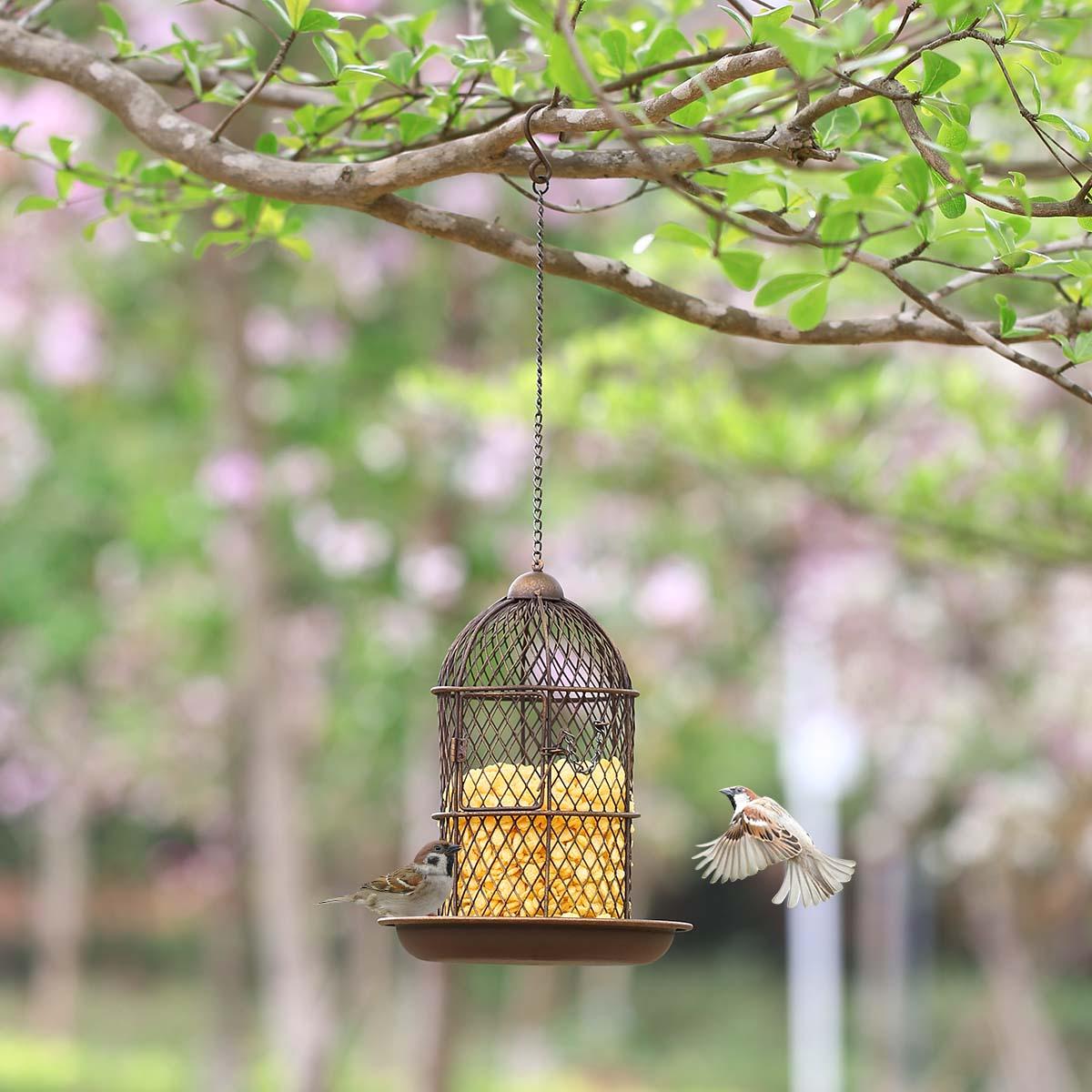 Practical Birdcage Shaped Bird Feeder Hanging Wild Bird Feeder Garden Backyard Household Handmade Decoration Bird Gift Crafts