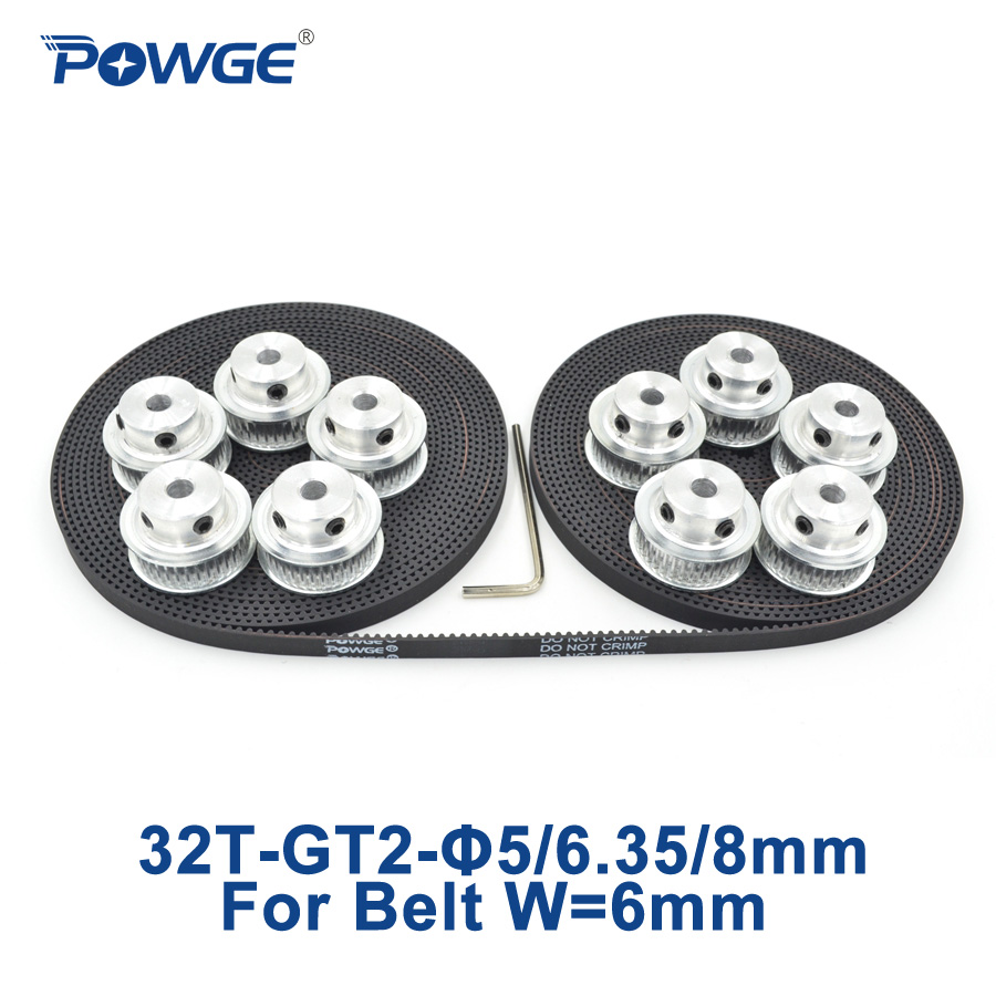 POWGE 10pcs 32 teeth GT2 Timing Pulley Bore 5mm 6.35mm 8mm + 10Meters width 6mm GT2 open timing Belt 2GT pulley Belt 32Teeth 32T high quality 1pc 80 teeth gt2 timing pulley bore 5mm 14mm fit width 6mm 2gt timing belt toothed tooth cnc machine 3d printer