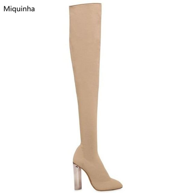 € 142.34 |Nueva llegada Beige negro hecho punto calcetín elástico botas  altas moda claro tacones punta estrecha sobre la rodilla botas Mujer botas  ...