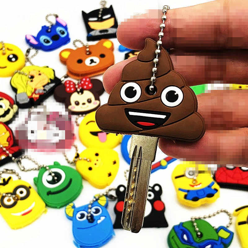 1Pcs Cute Mix Cute Cartoon Silicone Keychain For Women/Man Key Cover Key Caps Key Ring Key Holder Kids Gift