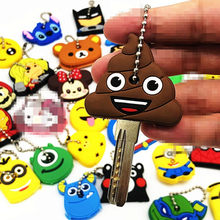 1Pcs Cute Mix Cute Cartoon Silicone Keychain For Women/Man Key Cover Key Caps Key Ring Key Holder Kids Gift(China)