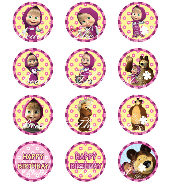 Aliexpresscom Buy Masha and The Bear Stickers Cupcake Toppers