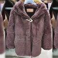 Продвижение! Женщины шубы природные полный пелт 100% реального рекс кролика пальто худ зимнее верхняя одежда DA-64
