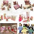 Casa de boneca móveis sets com 6 pcs bonecas de madeira Dolls House móveis Kid quarto de brinquedo em miniatura brinquedo de madeira para crianças