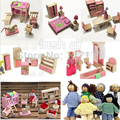 Doll House Furniture sets with 6 pcs dolls Wooden Dolls House Furniture Kid  Bedroom Toy  Miniature Wooden Toy For Children