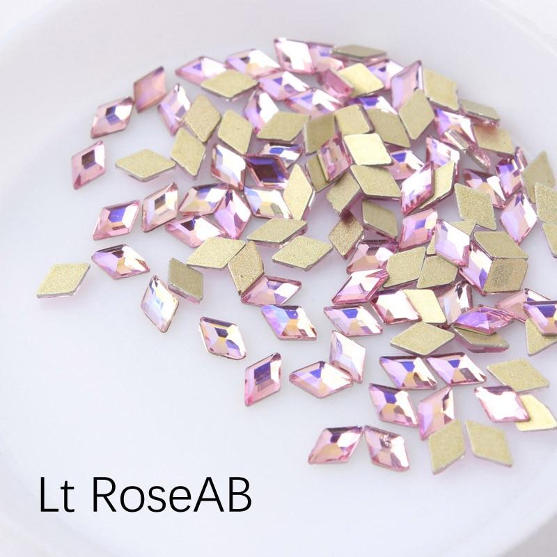 30/100 шт./лот ногтей Стразы 3x5 мм Flatback ромб с цветными камнями для 3D нейл-арта украшения - Цвет: Lt RoseAB