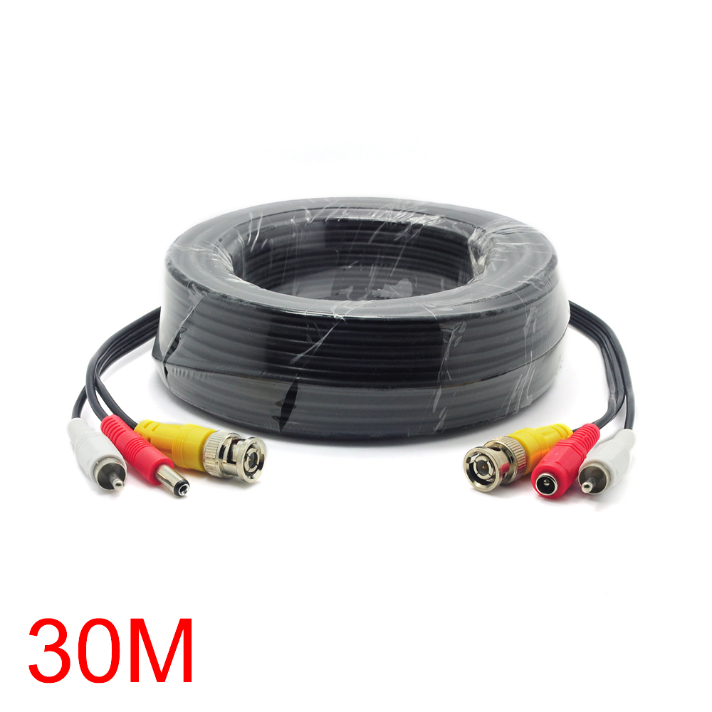 где купить 30M/98FT Cable BNC RCA DC Connector Video Audio Power Wire For CCTV Camera дешево