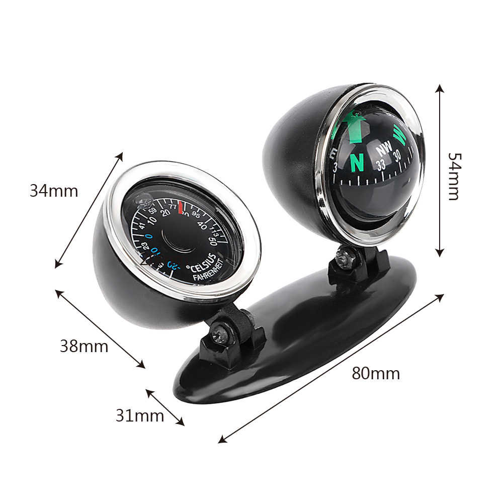 FORAUTO 2 in 1 Guide Ball Car Compass Thermometer Car-styling Car Ornaments Direction Dashboard Ball Auto Accessories