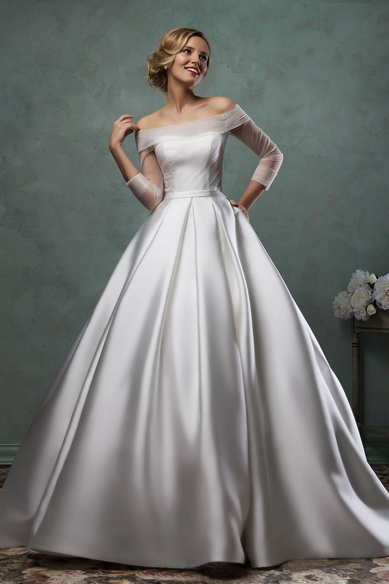 5222497562a Lace Sleeves Off The Shoulder Satin Wedding Dress