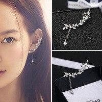 Newest Style Free Shipping Fashion Sterling Silver 925 Crystal Stud Earrings Leaf Tassel Earrings Jewelry Pendientes