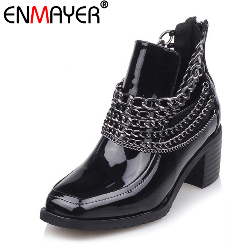 ENMAYER Zip Round Toe Square High Heels Sexy Wine red Genuine Leather Shoes Women New Fashion Winter/Autumn Women Ankle Boots enmayer genuine leather women boots autumn winter wedges shoes zip fashion ankle boots mixed colors platform shoes boots 34 39