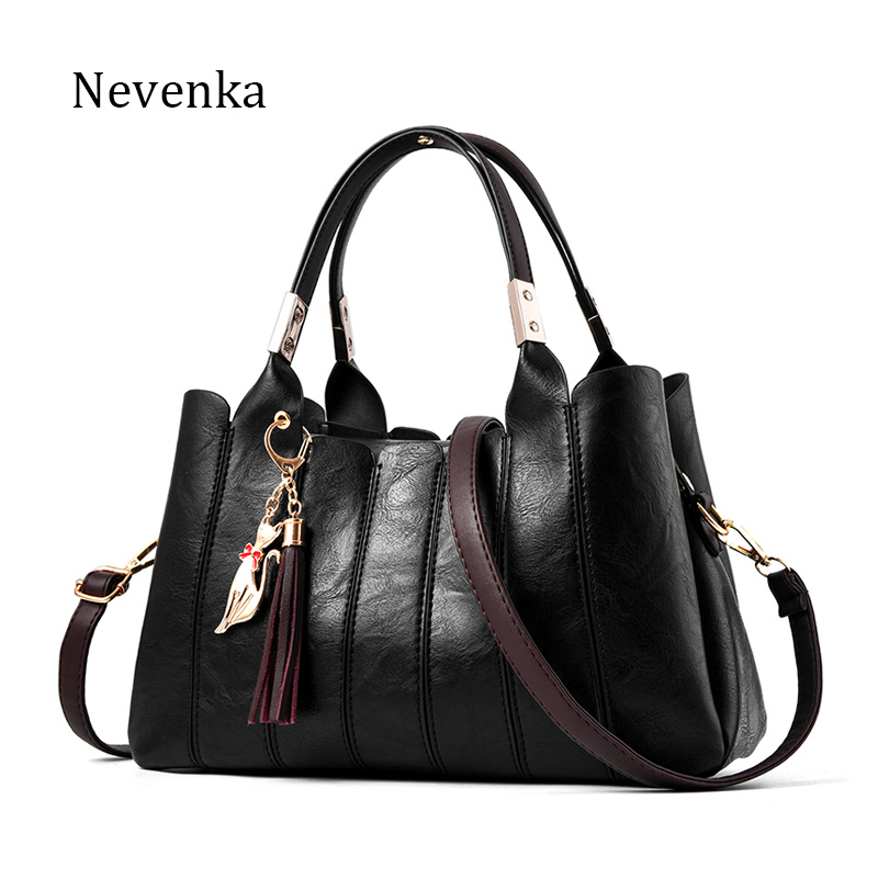 Nevenka Women High Quality Leather Shoulder Bags Fashion Style Lady Handbags Pleated Chains Pattern Messenger Bags Luxury Tote