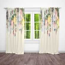 European Style Floral Living Room Curtains Window Curtains Watercolor Flower Curtains Hand Painted Rose Flower Art - HU01(China)