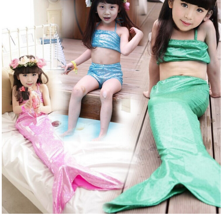 Girl Mermaid Tail Swimmable Monofin Capable Sea-maid Fantasia Princess Bikini Swimwear Beach Kids Children Dress fairy tail