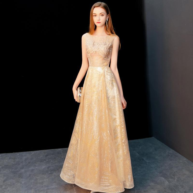 Golden   Evening     Dress   Female 2019 New Banquet Noble Elegant Annual Meeting Party   Dress   Illusion O-neck Sleeveless Banquet   Dresses