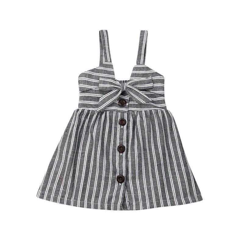 Kids Baby Girl Summer Sundress Sleeveless Striped Slip Dress Girl Bow High Waist Button Dress Cotton Clothes A-Line Dress 0-5Y
