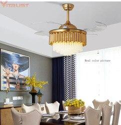 Nowoczesny sufit wentylatory z kryształowe światło wentylator lampy sypialnia wentylator domu 220v 110V pilot ventilador de teto salon jadalnia w Wentylatory sufitowe od Lampy i oświetlenie na