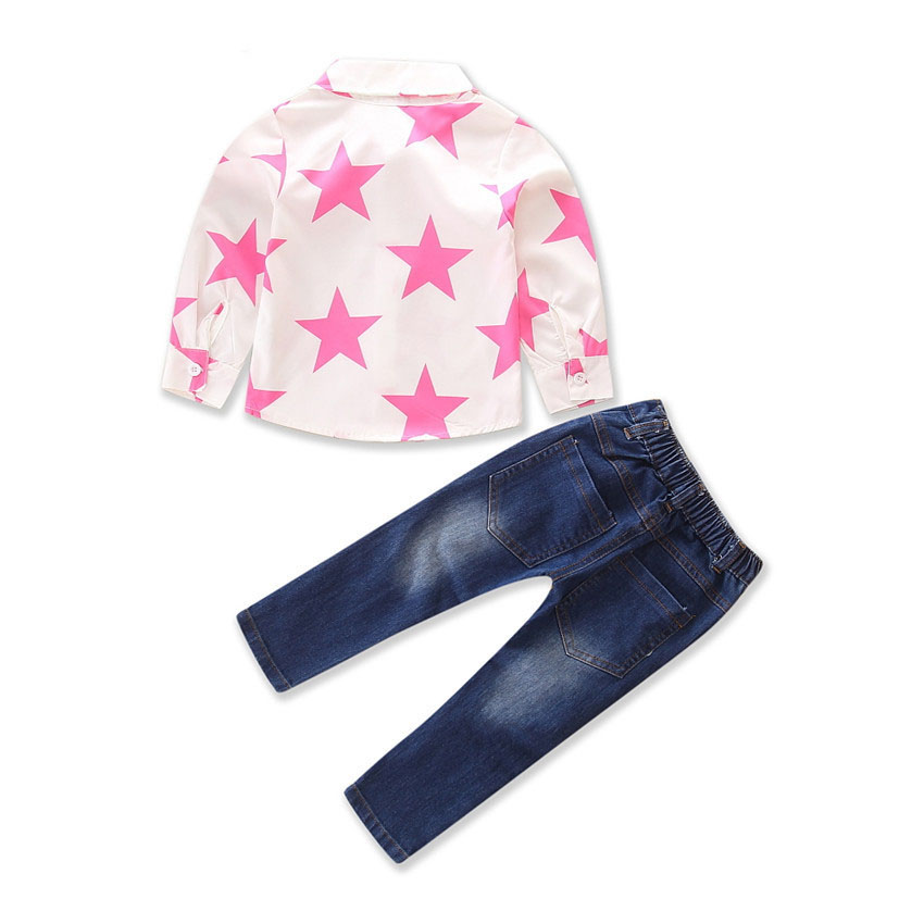 2Piece Spring Autumn Girls Outfits For Kids Fashion Clothes Long Sleeve Baby T-shirt+Hole Jeans Children Clothing Sets BC1747-1 3