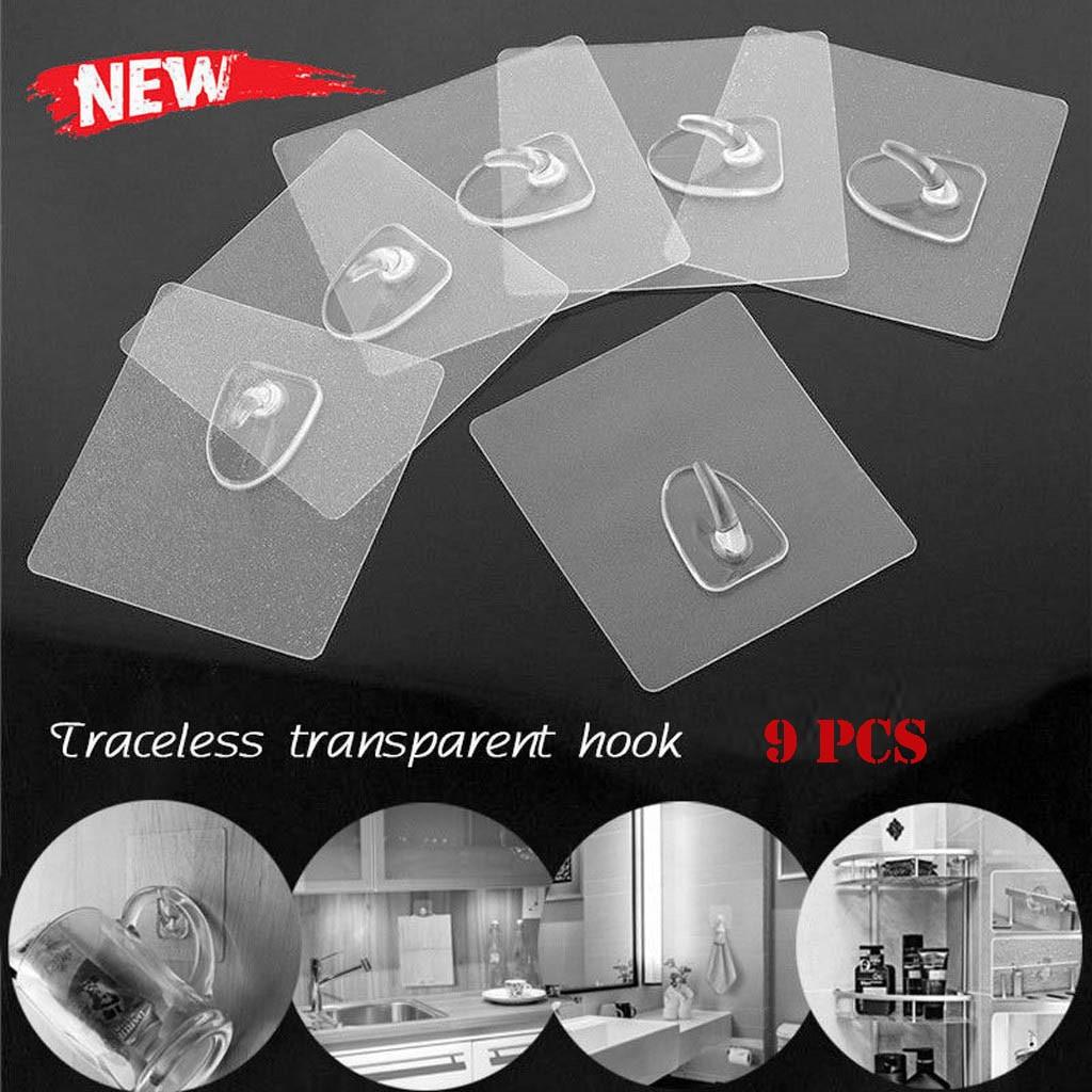 7-15Pcs/Set Kitchen Bathroom Bedroom Seamless Self-Adhesive Hooks Anti-skid Reusable Transparent Traceless Wall Hanging Hooks