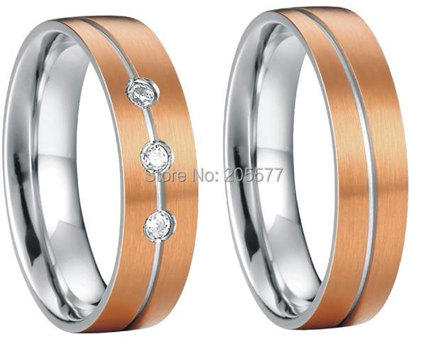 все цены на rose gold plating custom health titanium wedding band couples engagement ring sets онлайн