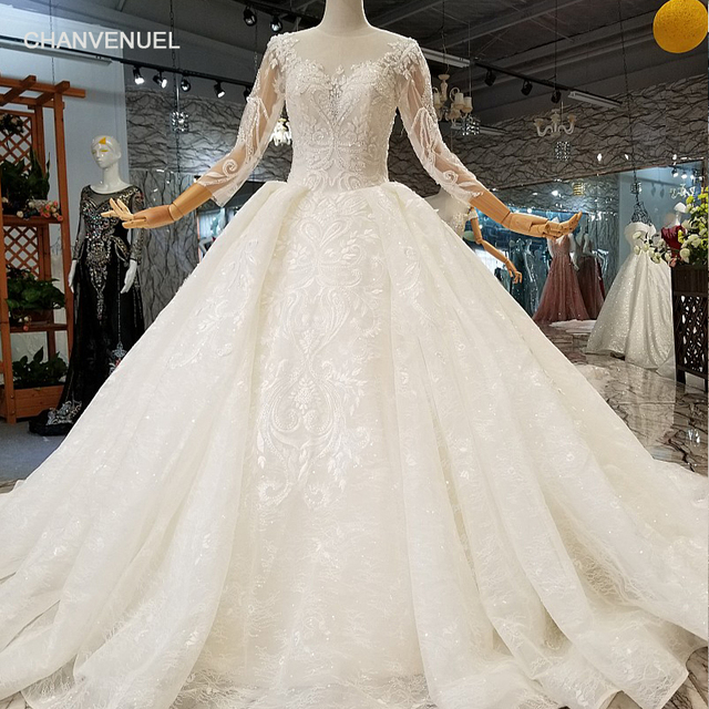 Ls744744 Quick Free Shipping Muslim Wedding Gowns O Neck Long Sleeve Ball Gown Flowers