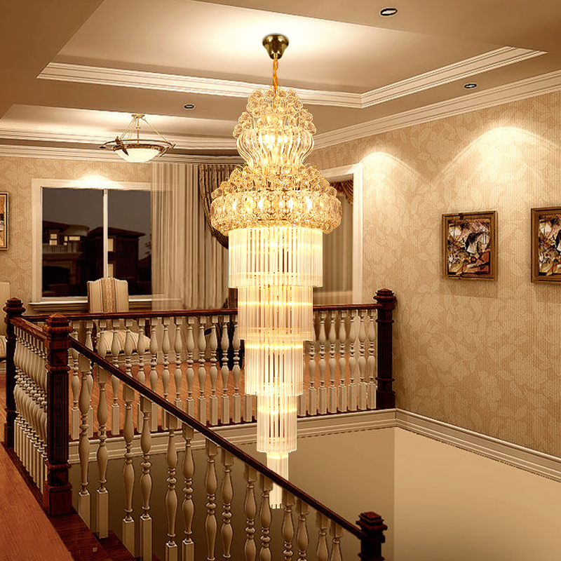 K9 Gold Crystal Chandelier Lustre Stair Chandelier Modern Led Chandeliers Lighting fixtures Hotel Villa Lobby Aisle Engineering 15 heads gold candle led fixture crystal hanging chandelier lighting hotel villa chandeliers living room k9 clear cristal lustre