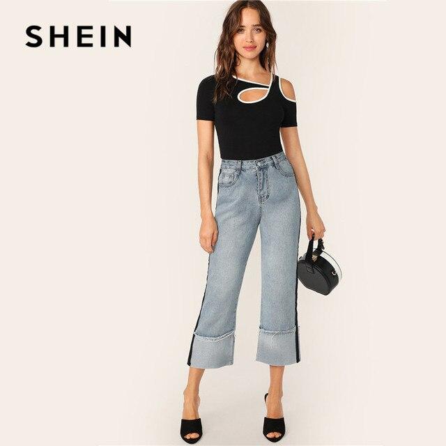 SHEIN Black Sporty Contrast Binding Cutout Detail Tshirt Women Summer Casual Slim Fit Asymmetrical Neck T Shirt Ladies Tops 4
