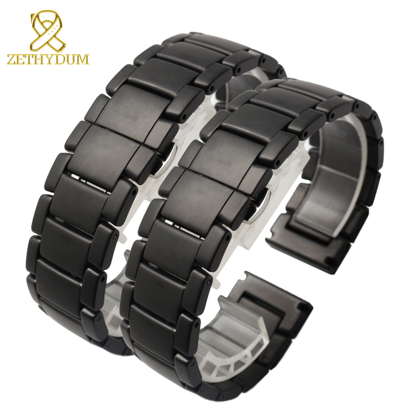 Ceramic bracelet watchband 22mm Grind arenaceous watch strap white black Butterfly buckle band POLISHED watch belt not fade ceramic watchband white or black watch band 22mm watch strap butterfly buckle wristband high grade wristwatches band