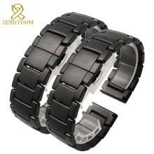 Mat Seramik bilezik watchband 22mm Grind arenalı saat kayışı beyaz siyah Kelebek toka band CILALı kemer solmaz
