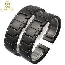 Matte Keramische armband horlogeband 22mm Grind kruimelig horloge band witte zwarte Vlinder gesp band GEPOLIJST riem niet vervagen