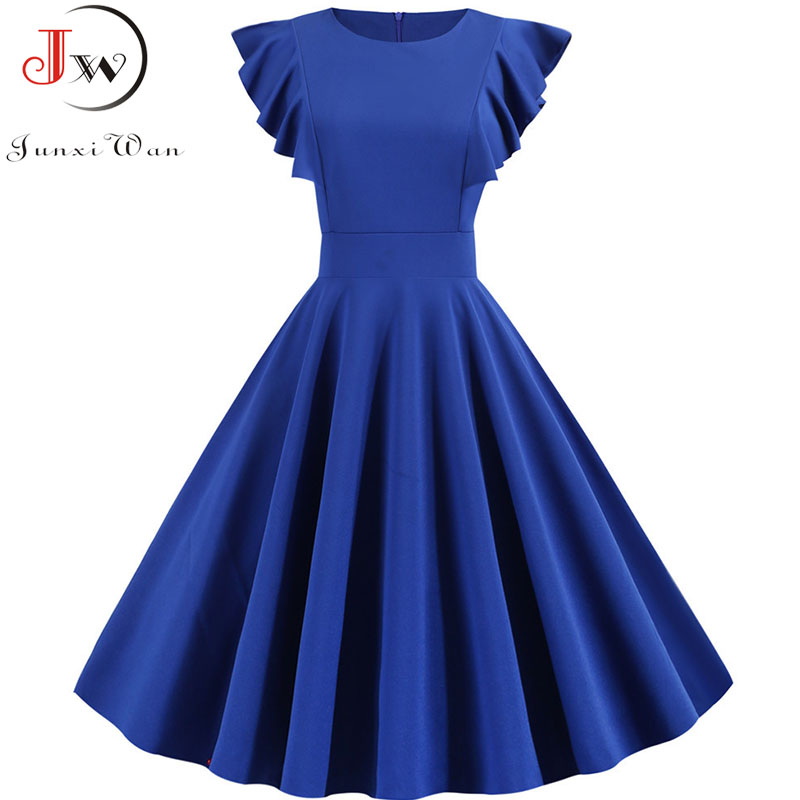 Summer Dress 2019 Women Solid Color Elegant Vintage Dress Robe Femme Casual Short Sleeve Midi Party Sundress Vestidos Plus Size